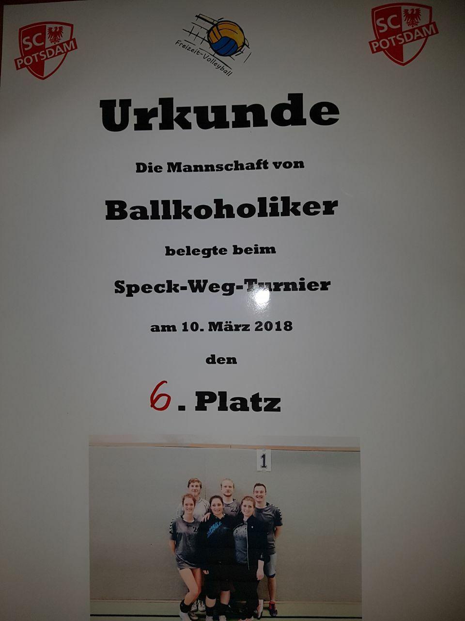 Urkunde Speck-Weg-Turnier 10.03.2018